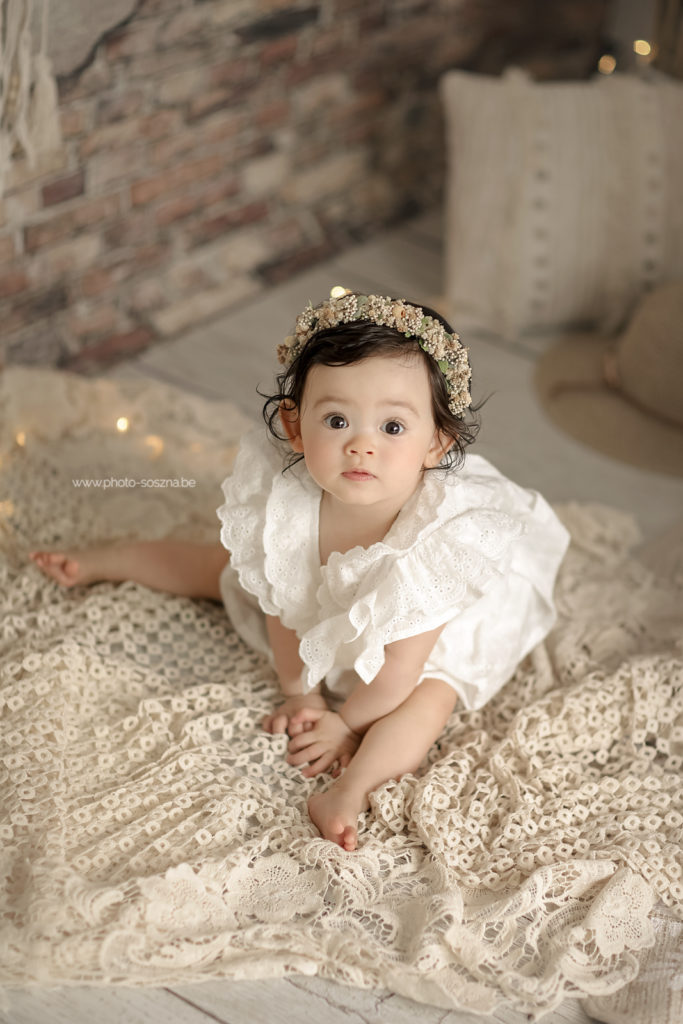 photographe bébé bohème décor studio